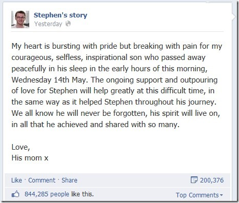 Stephen Sutton mom statement of death